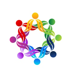 Teamwork hug people logo vector image