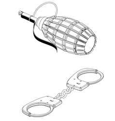 3d model of grenades and handcuffs on a white vector image