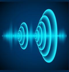 Abstract digital sound wave sine wave on dark vector