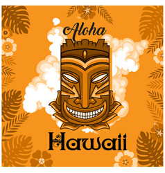 aloha hawaii tiki mask leaves orange background ve vector image