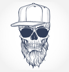 Angry skull with beard vector