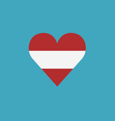 austria flag icon in a heart shape in flat design vector image