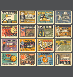 basketball sport players with balls basket hoop vector image