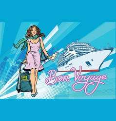 Beautiful woman passenger bon voyage cruise ship vector