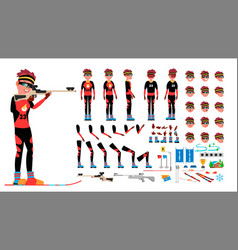 biathlon player male animated character vector image
