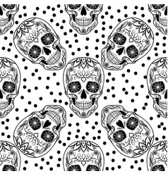 black and white seamless pattern with skulls vector image