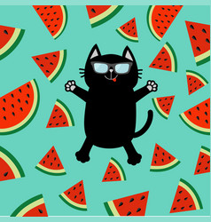 black cat wearing sunglasses jumping or making vector image