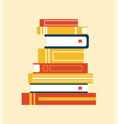 books collection with bookmark vector image