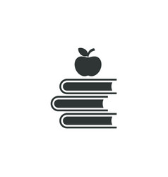 books with apple icon simple school element vector image
