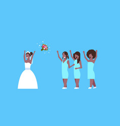 Bride in white dress throwing bouquet for african vector