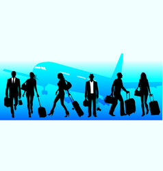 Business travel people at airport - global vector