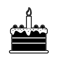 cake with candle birthday pastry icon image vector image