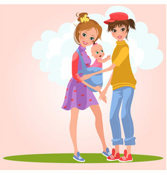 Cartoon smiling lesbian girls posing outdoors on vector