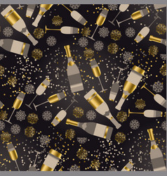 champagne and snowflakes seamless pattern vector image