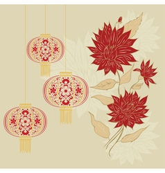 Chinese lantern with flowers vector