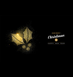 christmas and new year gold glitter mistletoe card vector image