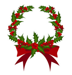 christmas wreath decorated with holly branch and vector image