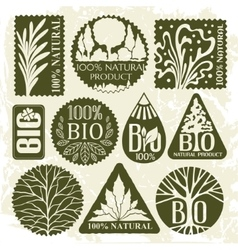 Collection of bio labels and badges vector