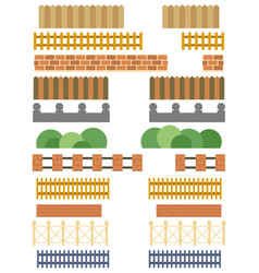 collection of various fences and barriers vector image