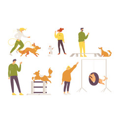 Collection with dogs and owners training various vector