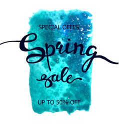 colorful watercolor poster spring sale vector image