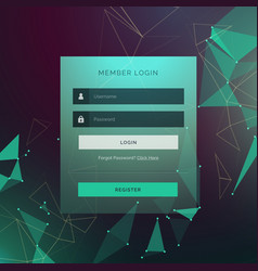 Creative login ui template form design with vector