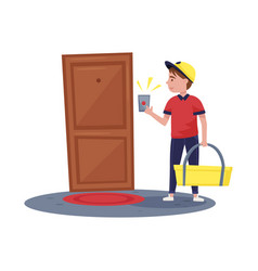 Delivery boy ringing at apartment doorbell guy vector