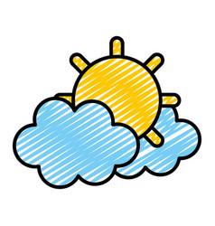 Doodle tropical sun and hot weather with clouds vector