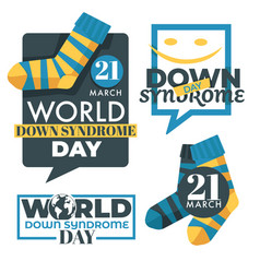 Down syndrome day isolated icons charity and vector