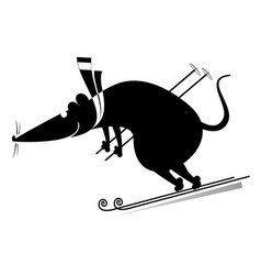 downhill skier rat or mouse vector image