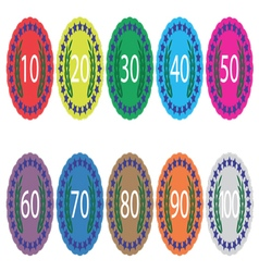 Emblem badge anniversaries color set vector