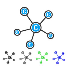 Euro network structure flat icon vector
