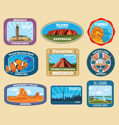 Famous monuments and national landmarks retro vector