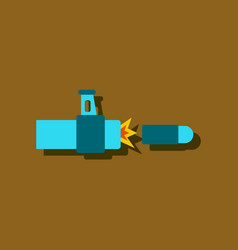 Flat icon design collection rifle bullet shot vector