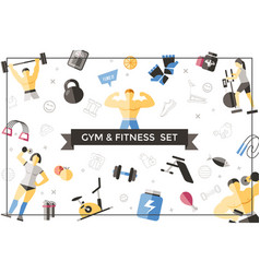 flat sport and fitness template vector image