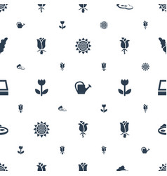 Flora icons pattern seamless white background vector