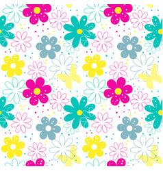 flower seamless patterns vector image