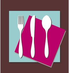 Fork knife spoon tablecloth vector