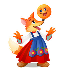 Fox in traditional russian dress and a smiling vector