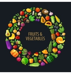 fresh fruits and vegetables in the circle vector image