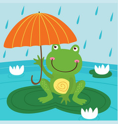 Frog hide from rain under umbrella vector