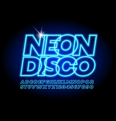 glowing logo neon disco with electric font vector image