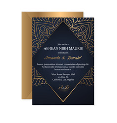 Gold wedding card vector