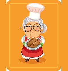 grandma holding roasted turkey vector image