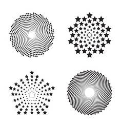 Halftone circles of stars twisted spirals vector