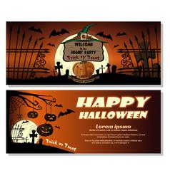 halloween design full moon over the cemetery vector image