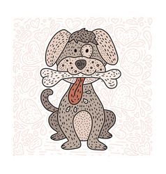 happy detailed doodle hand drawn dog vector image