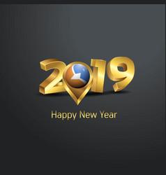 Happy new year 2019 golden typography with tierra vector