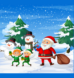 happy santa and elf ourdoor background vector image