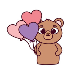 happy valentines day cute bear with balloons vector image